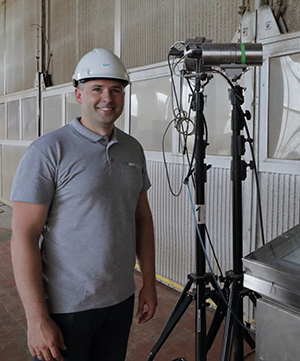 Irmantas Zubrus, Head of the Technology Group pictured here with one of the two mobile cameras at the dryer section.