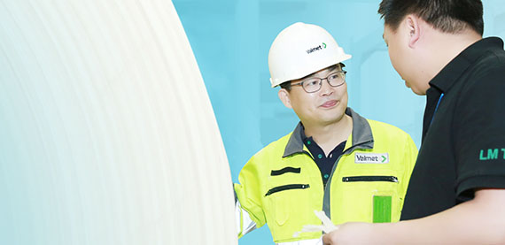 """Valmet tissue machines are well adapted to support our production targets with bamboo fiber. That is unique,"" says Wei Chong, the leader of the project at Lee & Man's Chongqing mill. Ji Yongwei, Valmet's Project Manager on the left."