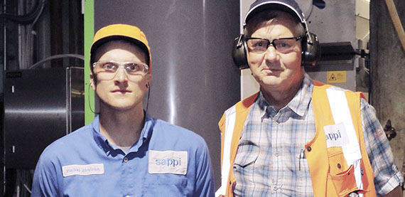 """The improved measurements from the Valmet scanner allow us to really see what affects the caliper and how to control it,"" says Ari Skyttä, Automation Project Manager at Sappi Kirkniemi (right), pictured here with Heikki Järvinen, Production Engineer."